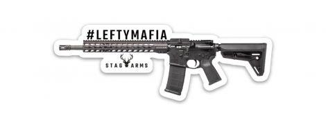 """Stag Arms """"#LEFTYMAFIA"""" Die Cut Sticker"""